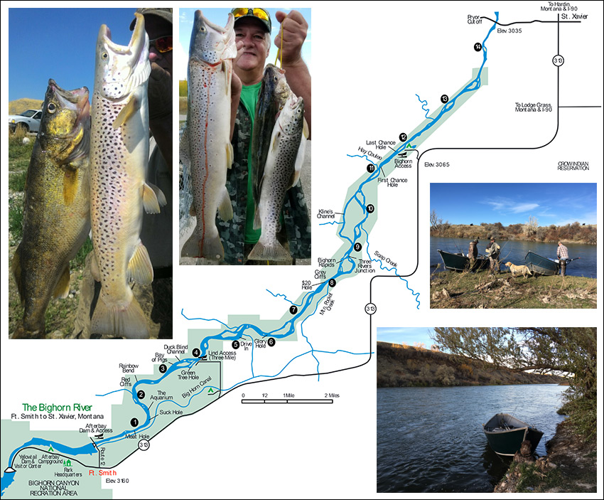 Bighorn River Map Montana Fishing Tours