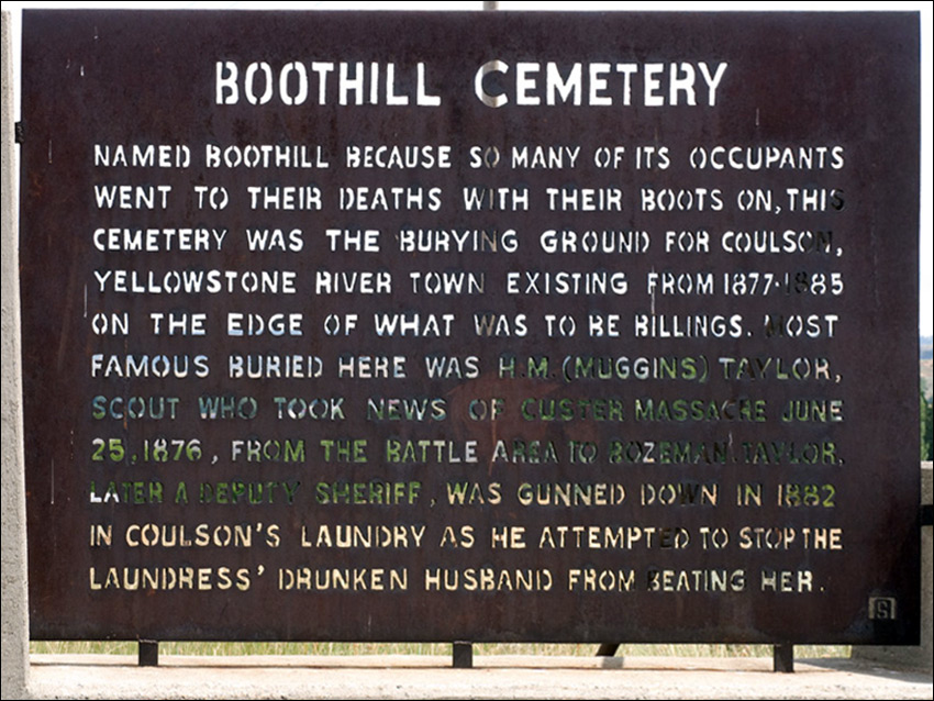 Boot Hill Cemetery Sign Billings